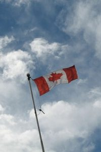Canadian flag flying high